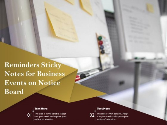 Reminders Sticky Notes For Business Events On Notice Board Ppt PowerPoint Presentation Gallery Slide PDF