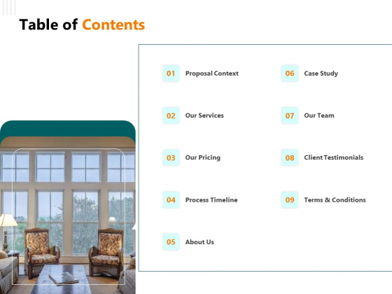 Rent Condominium Table Of Contents Ppt PowerPoint Presentation Professional Design Templates PDF