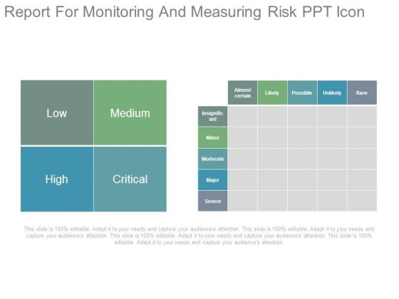 Report For Monitoring And Measuring Risk Ppt Icon