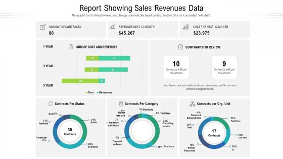 Report Showing Sales Revenues Data Ppt Show Backgrounds PDF