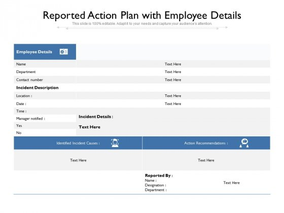 Reported Action Plan With Employee Details Ppt PowerPoint Presentation Ideas Designs Download PDF