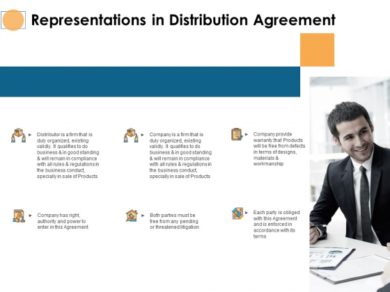 Representations In Distribution Agreement Ppt PowerPoint Presentation Pictures Mockup