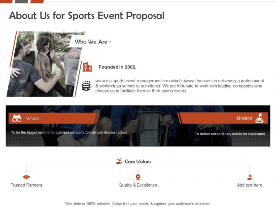 Request For Sporting About Us For Sports Event Proposal Ppt Gallery Pictures PDF