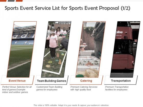Request For Sporting Sports Event Service List For Sports Event Proposal Catering Ppt Icon Master Slide PDF