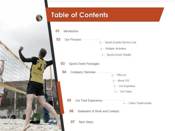 Request For Sporting Table Of Contents Experience Ppt Model Slides PDF
