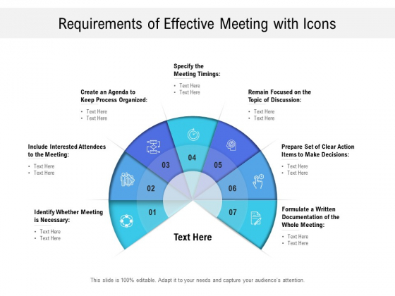 Requirements Of Effective Meeting With Icons Ppt PowerPoint Presentation Portfolio Gallery