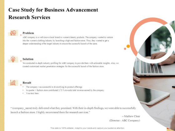 Research Advancement Services Case Study For Business Advancement Research Services Inspiration PDF