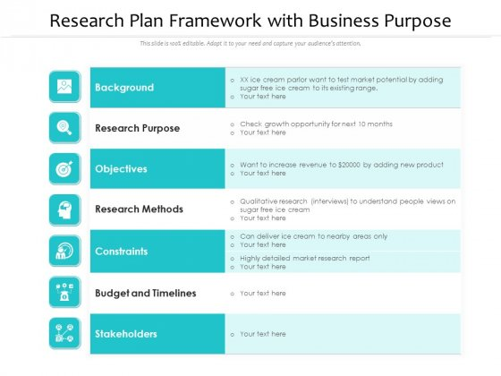 Research Plan Framework With Business Purpose Ppt PowerPoint Presentation Pictures Styles PDF