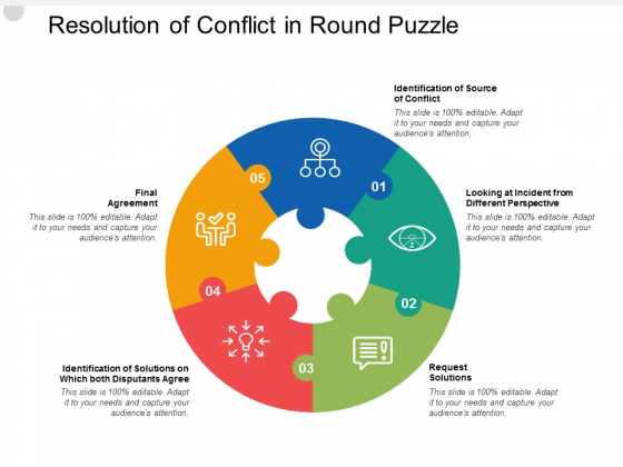 Resolution Of Conflict In Round Puzzle Ppt PowerPoint Presentation Icon Infographics