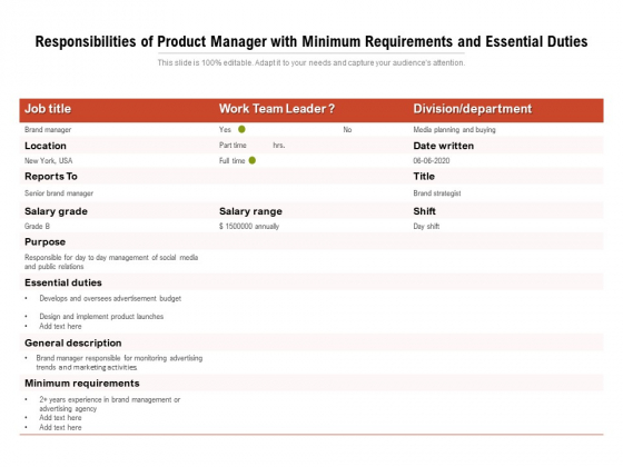 Responsibilities_Of_Product_Manager_With_Minimum_Requirements_And_Essential_Duties_Ppt_PowerPoint_Presentation_Inspiration_Guidelines_PDF_Slide_1