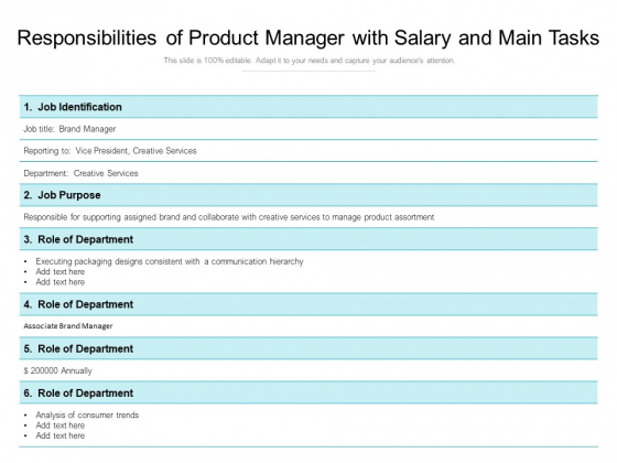 Responsibilities Of Product Manager With Salary And Main Tasks Ppt PowerPoint Presentation File Summary PDF