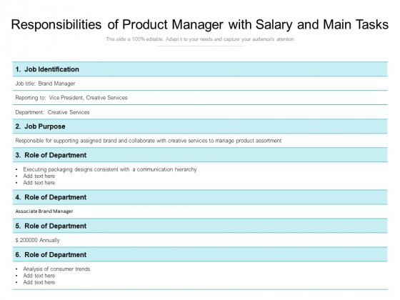 Responsibilities_Of_Product_Manager_With_Salary_And_Main_Tasks_Ppt_PowerPoint_Presentation_File_Summary_PDF_Slide_1