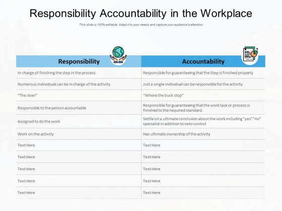 Responsibility Accountability In The Workplace Ppt PowerPoint Presentation Infographic Template Backgrounds