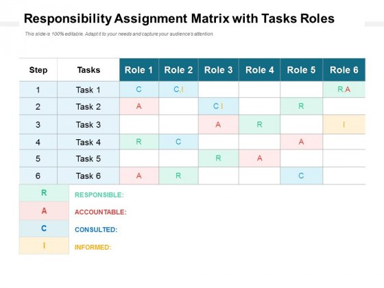 Responsibility Assignment Matrix With Tasks Roles Ppt PowerPoint Presentation Portfolio Design Templates