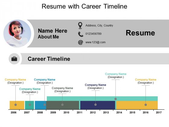 Resume With Career Timeline Ppt PowerPoint Presentation Gallery Diagrams
