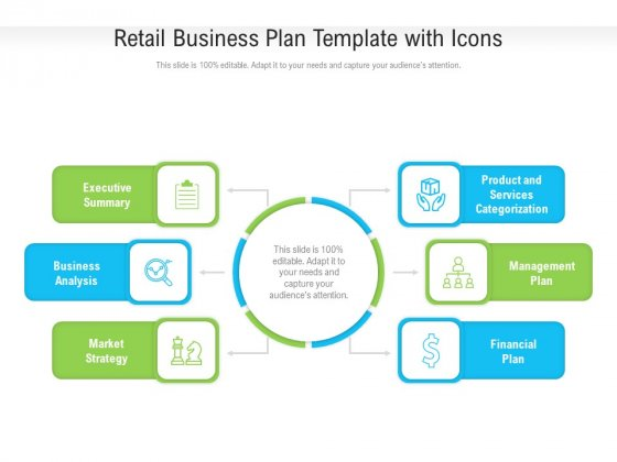 Retail Business Plan Template With Icons Ppt PowerPoint Presentation Gallery Guidelines PDF