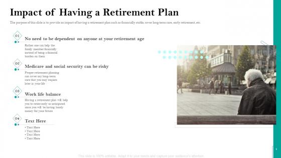 Retirement Insurance Benefit Plan Impact Of Having A Retirement Plan Ppt Ideas Graphics Template PDF