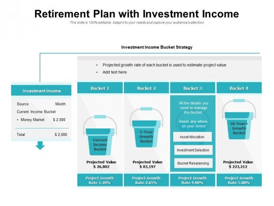 Retirement Plan With Investment Income Ppt PowerPoint Presentation Gallery Slide Download PDF