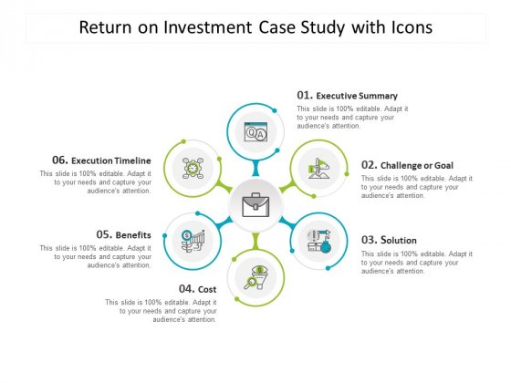 Return On Investment Case Study With Icons Ppt PowerPoint Presentation Show Backgrounds