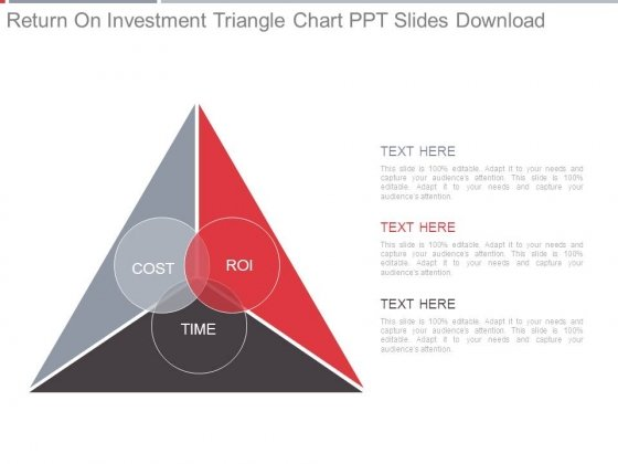 Return On Investment Triangle Chart Ppt Slides Download