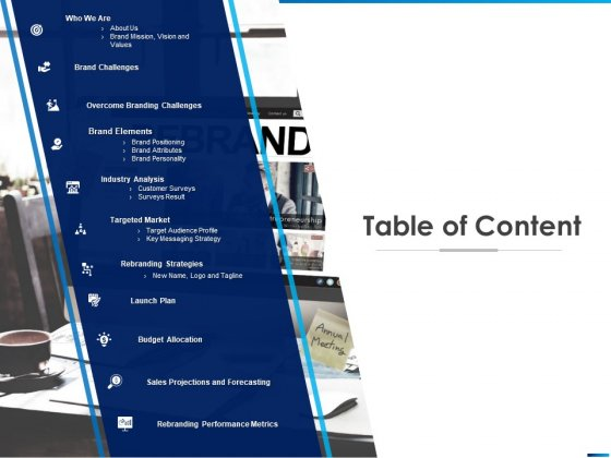 Revamping Firm Presence Through Relaunching Table Of Content Ppt PowerPoint Presentation Summary Layouts PDF