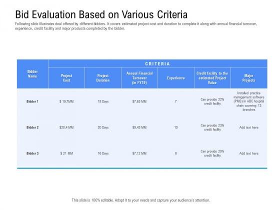 Revenue Cycle Management Deal Bid Evaluation Based On Various Criteria Slides PDF