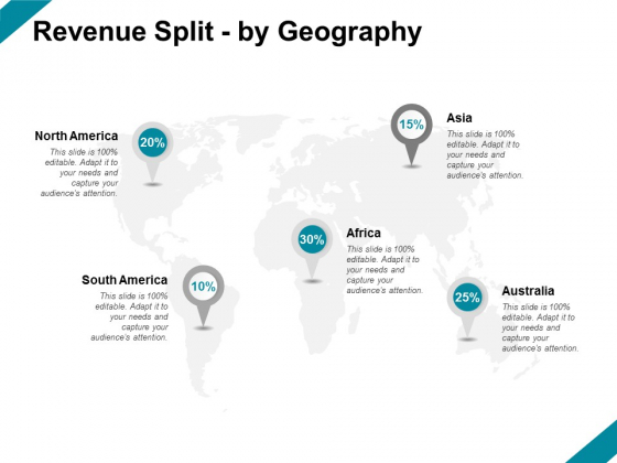 Revenue Split By Geography Ppt PowerPoint Presentation Slides Model