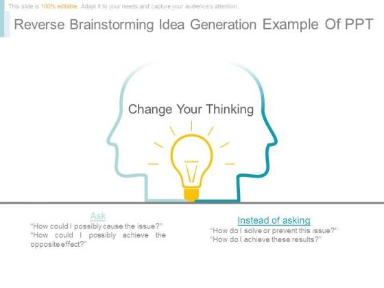 Reverse Brainstorming Idea Generation Example Of Ppt