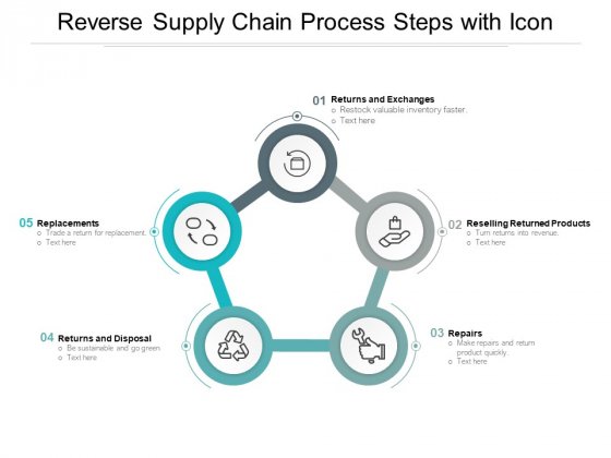 Reverse Supply Chain Process Steps With Icon Ppt Powerpoint Presentation Layouts Layout