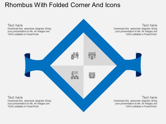 Rhombus With Folded Corner And Icons Powerpoint Template