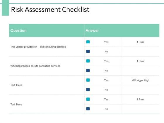 Risk Assessment Checklist Ppt PowerPoint Presentation Slides Professional