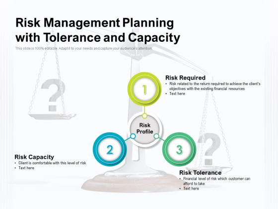 Risk Management Planning With Tolerance And Capacity Ppt PowerPoint Presentation Layouts Shapes PDF