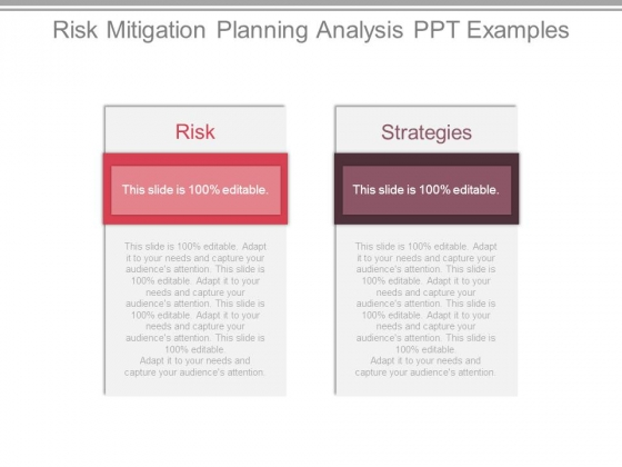 Risk Mitigation Planning Analysis Ppt Examples