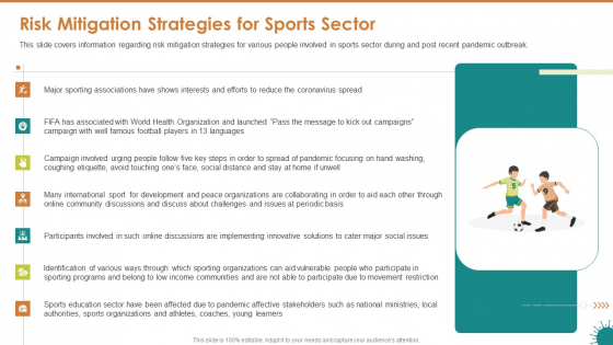 Risk Mitigation Strategies For Sports Sector Ppt File Graphics Tutorials PDF