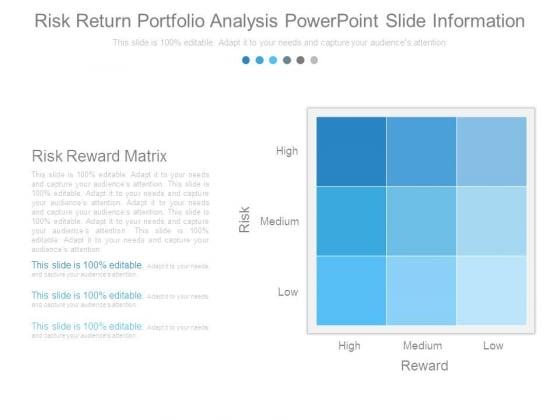 Risk Return Portfolio Analysis Powerpoint Slide Information