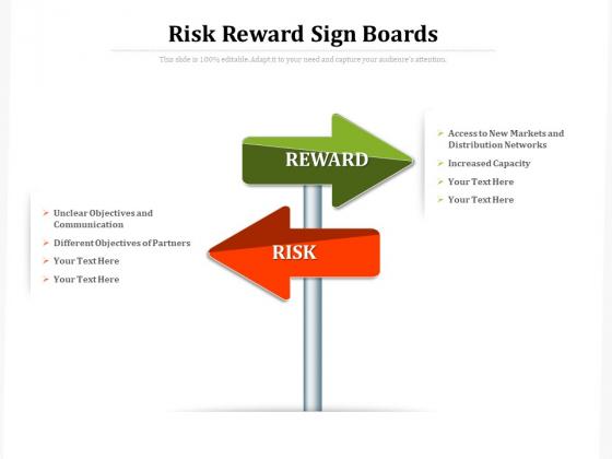Risk Reward Sign Boards Ppt PowerPoint Presentation Ideas PDF
