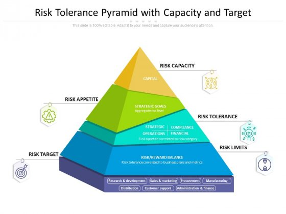Risk Tolerance Pyramid With Capacity And Target Ppt PowerPoint Presentation Slides Background PDF