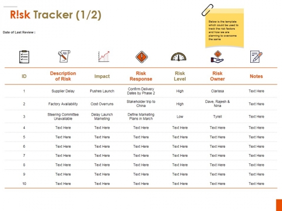 Risk Tracker Template 1 Ppt PowerPoint Presentation Pictures Example Introduction