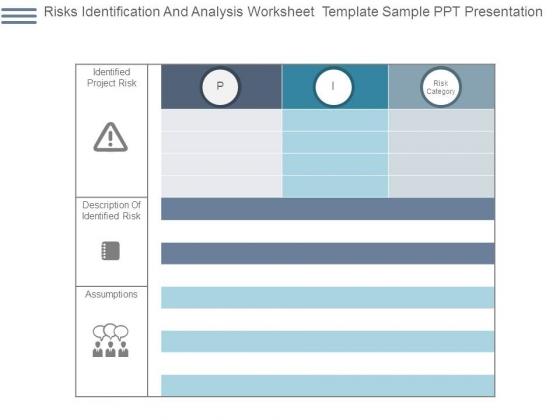 Risks Identification And Analysis Worksheet Template Sample Ppt Presentation