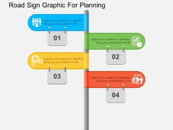 Road Sign Graphic For Planning Powerpoint Templates