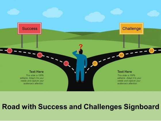 Road_With_Success_And_Challenges_Signboard_Ppt_PowerPoint_Presentation_Gallery_Model_PDF_Slide_1