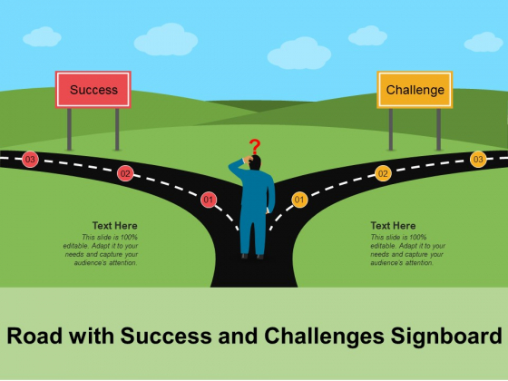 Road With Success And Challenges Signboard Ppt PowerPoint Presentation Gallery Model PDF