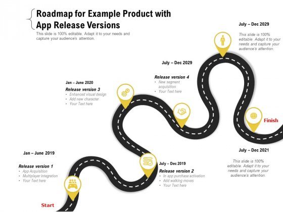 Roadmap For Example Product With App Release Versions Ppt PowerPoint Presentation Gallery Format PDF