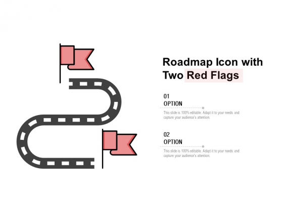 Roadmap Icon With Two Red Flags Ppt PowerPoint Presentation Professional Layout