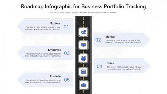 Roadmap Infographic For Business Portfolio Tracking Ppt PowerPoint Presentation File Mockup PDF