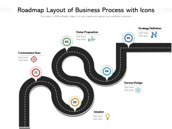Roadmap Layout Of Business Process With Icons Ppt PowerPoint Presentation Model Shapes PDF