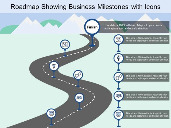 Roadmap Showing Business Milestones With Icons Ppt PowerPoint Presentation Inspiration Clipart Images