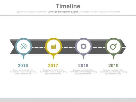 Roadmap With Year Based Timeline And Icons Powerpoint Slides
