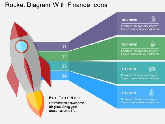 Rocket Diagram With Finance Icons Powerpoint Templates
