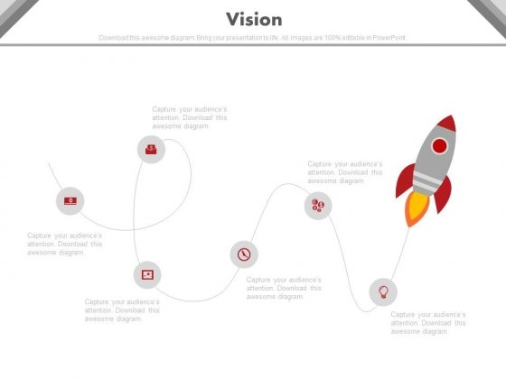 Rocket With Icons For Future Business Vision Powerpoint Slides